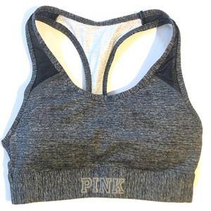 VS PINK ULTIMATE Sports Bra Pocket Gray Black XS